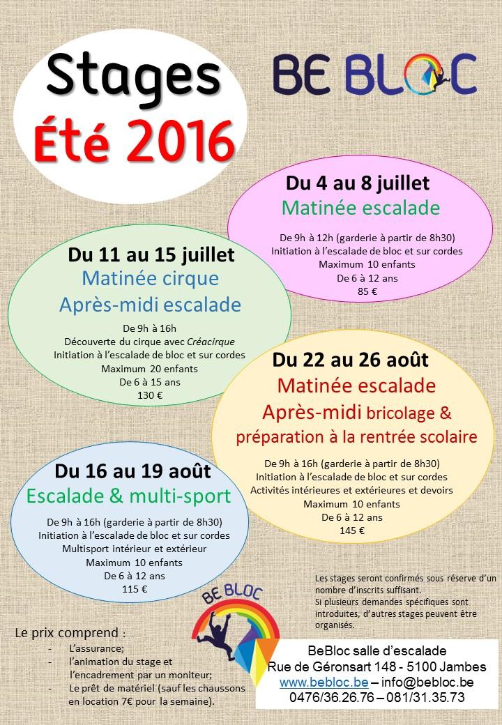 Affiche Stage Ete 2016